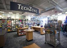 A wide angle view of the Tech Zone area of the bookstore