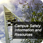 Campus Safety and Resources text over a background of the College bell tower