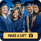 A photo of students in graduation cap and gown with overlay text that reads Make a Gift