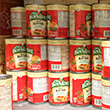 Stacks of canned goods