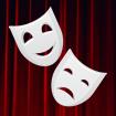 Greek theatre masks illustration