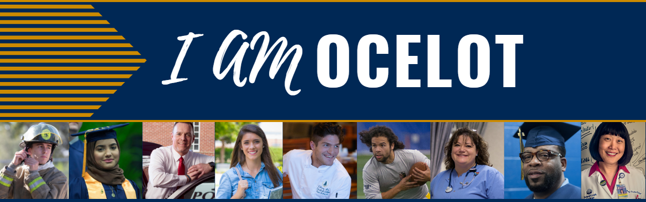 "A collage of alum and professionals with banner text that reads ""I Am Ocelot"""