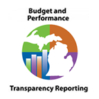 Budget and Performance Transparency Reporting text with a green illustration graphic of the state of Michigan