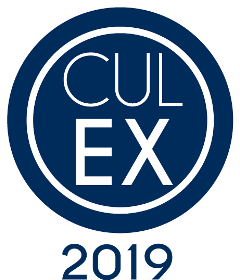 "A dark blue circle with text inside reading ""Cul Ex"" 2019, for Culinary Extravaganza"