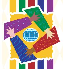 A vector artwork logo of diverse hands coming together around a globe icon