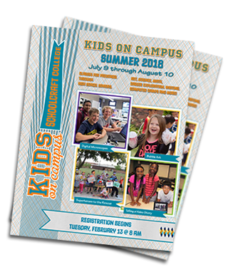 Stack of the Kids on Campus printed catalog