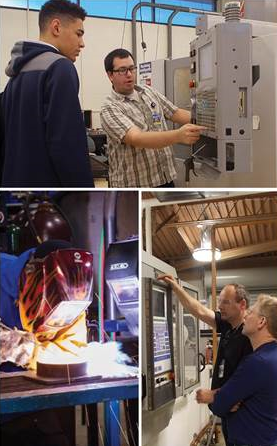 A collage of photos of students exploring the manufacturing labs