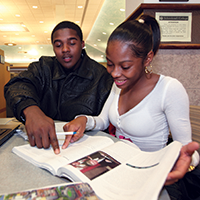 Students Studying in Bradner Library