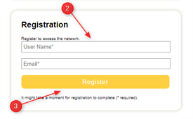 A screencap image showing the user registration sign up form. This is steps 2 and 3.