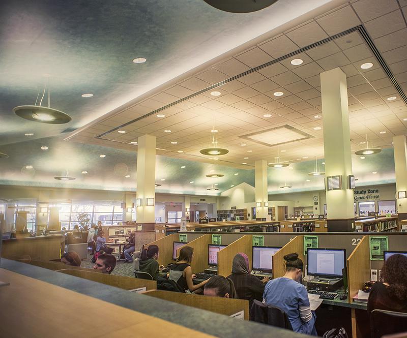 Photo of students studying in the library