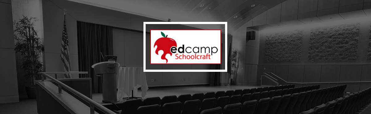 Photo of an auditorium and EdCamp logo