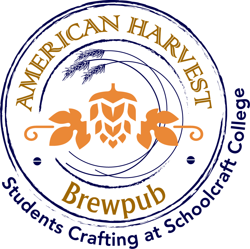 A circular seal that reads American Harvest BrewPub - Student Crafted at Schoolcraft College