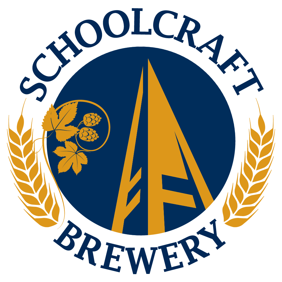 A circular logo with the state of Michigan in the center and text that reads American Harvest Michigan BrewPub Students Crafting at Schoolcraft College