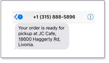 Your order is ready for pickup at JC Cafe, 18600 Haggerty Rd, Livonia