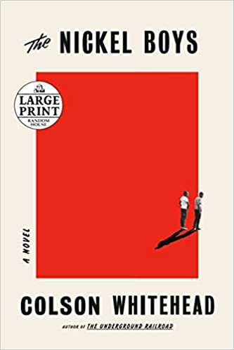 A book cover of a big red square and two people standing on the edge of it