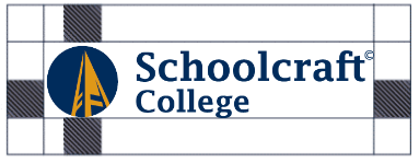 A logo containing an icon of a gold bell tower inside of a dark blue circle, next to collegiate text that reads Schoolcraft College. Blue guidelines showcase the margin space around the logo in sections.