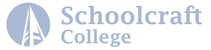 A logo containing an icon of a bell tower inside of a solid circle, next to collegiate text that reads Schoolcraft College. This logo looks faded.