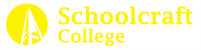 A logo containing an icon of a bell tower inside of a solid circle, next to collegiate text that reads Schoolcraft College. This logo is yellow.