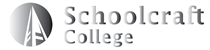 A logo containing an icon of a bell tower inside of a solid circle, next to collegiate text that reads Schoolcraft College. This logo is faded black and white with gradients.