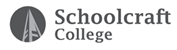 A logo containing an icon of a bell tower inside of a solid circle, next to collegiate text that reads Schoolcraft College. This logo is varying shades of black and gray.
